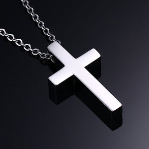 "Vnox Men's/Women's Classic Blank Cross Stainless Steel Necklace With 20"" Chain"
