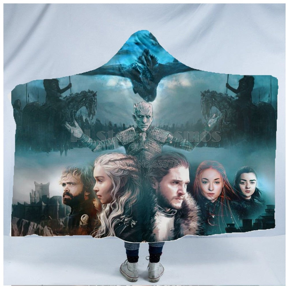 18 Choices Various Movie Game Character Hooded Blanket Sherpa Fleece Wearable Throw