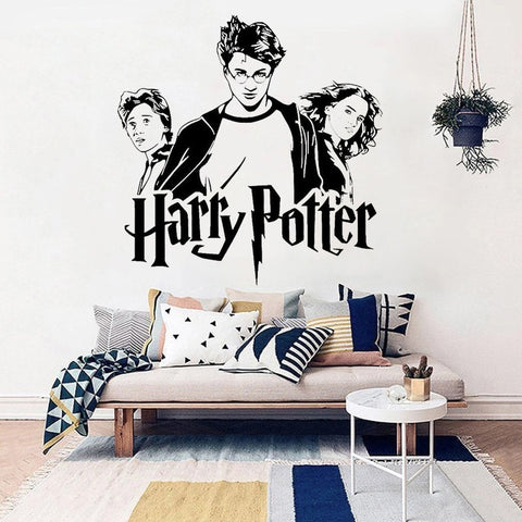 Harry Potter Trio Ron Hermione Vinyl Decal Wall Art Various Colour & Size Options Available