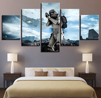 5 Panel Framed Star Wars Stormtrooper Advancing  Modern Decor Canvas Wall Art HD Print