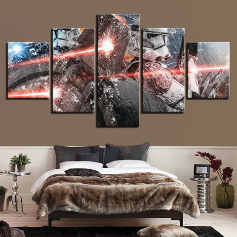 5 Panel Star Wars Take Cover Clone Trooper Modern Decor Canvas Wall Art HD Print