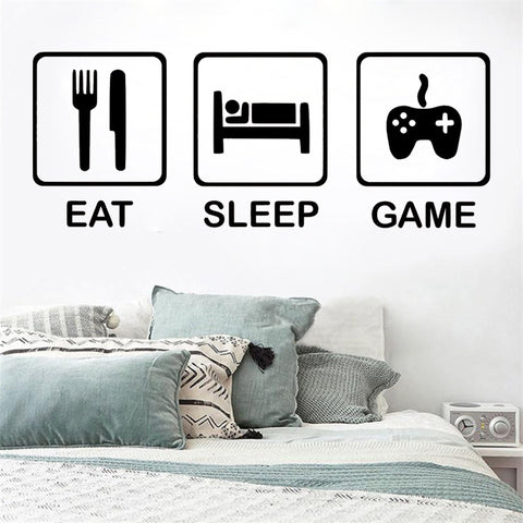 """Eat Sleep Game"" Vinyl Decal Wall Art Various Colour & Size Options Available"