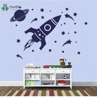 Outer Space Rocket & Galaxy Outer Vinyl Decal Wall Art Various Colour & Size Options Available