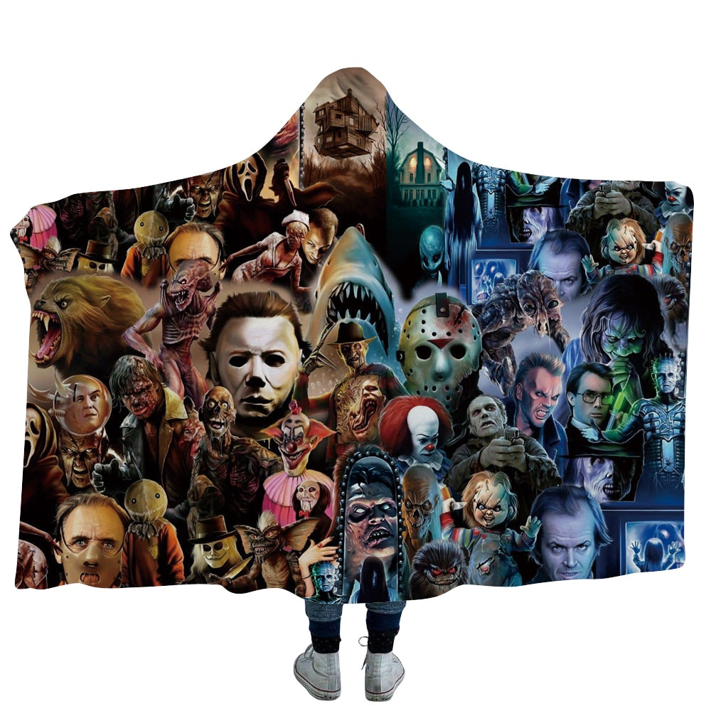 Horror Movie Characters Hooded Throw Blanket Sherpa Fleece Wearable 22 Options Available