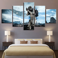5 Panel Star Wars Stormtrooper Advancing  Modern Decor Canvas Wall Art HD Print