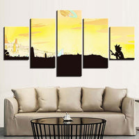5 Panel Rick And Morty Cartoon Silhouette Modern Decor Canvas Wall Art HD Print