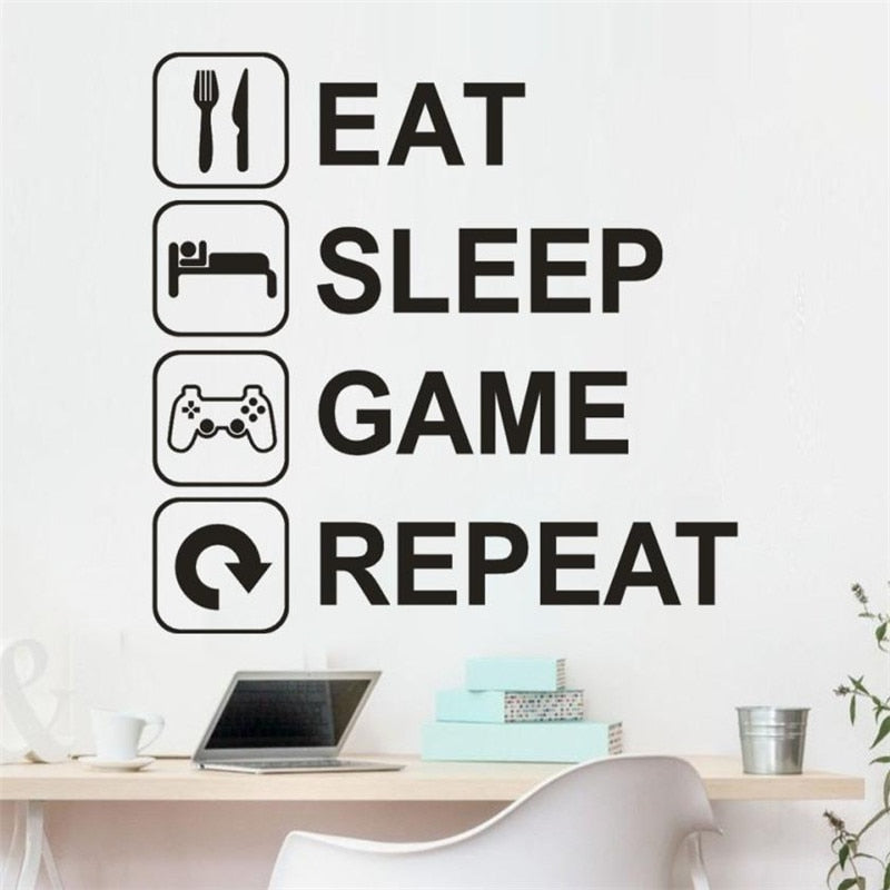 Eat Sleep Game Repeat Wall Decal For Gamers