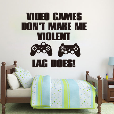 """Video Game Do not make Violent Lag Does"" Vinyl Decal Wall Art Various Colour & Size Options Available"