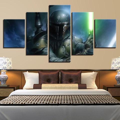 5 Panel Star Wars Boba Fett Light Saber Modern Decor Canvas Wall Art HD Print