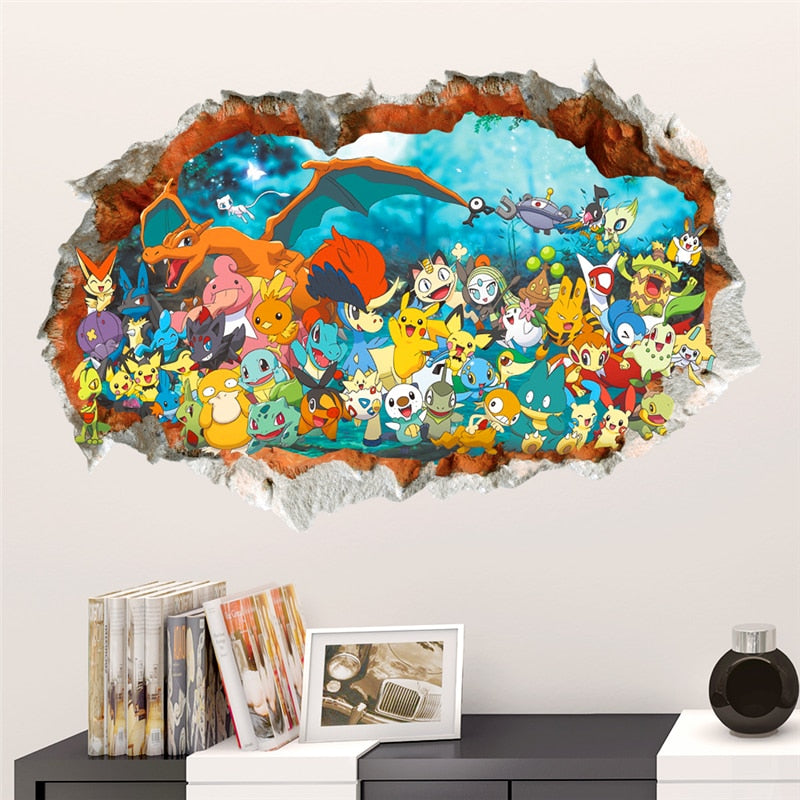 Pokemon Go Red Pikachu & Friends 3D Vinyl Mural Wall Art Two Size Options Available