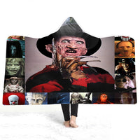 3D Freddy and Horror Movie Characters Hooded Blanket Sherpa Fleece Wearable plush Throw Blanket