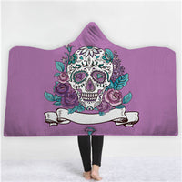 Skulls, Feathers & Universe Hooded Throw Blanket Sherpa Fleece Wearable 40 Options Available