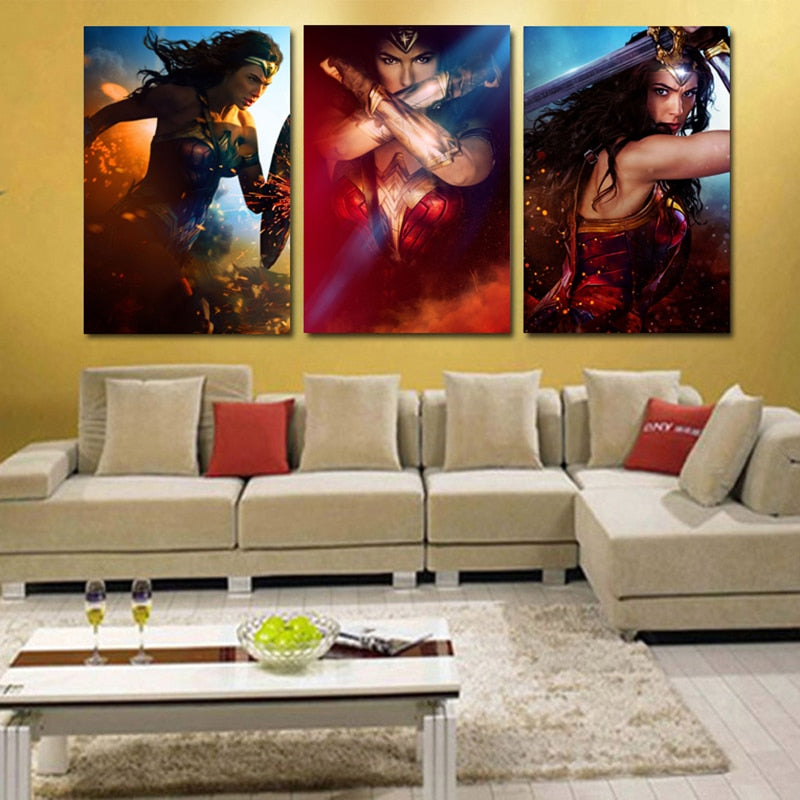 Printed Picture Modular Painting Modern Wall Art 3 Panel Movie Wonder Woman Character For Living Room Home Decor Artwork Canvas