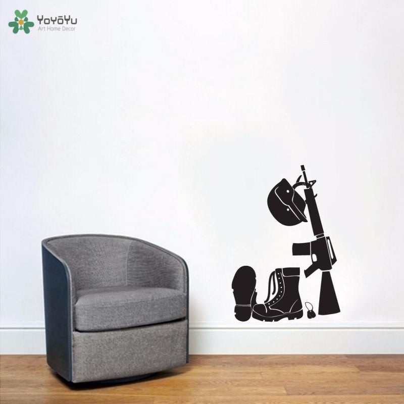 Military Helmet Gun Army Boots Vinyl Decal Wall Art Various Colour & Size Options Available