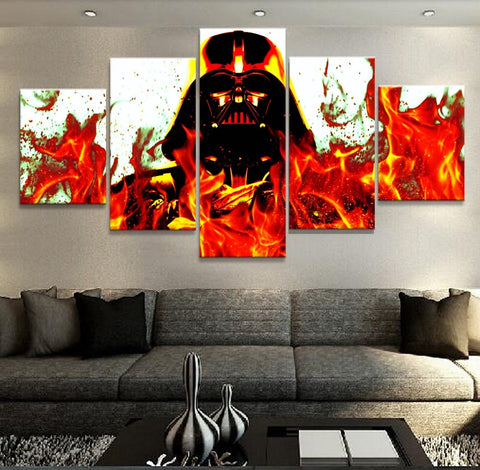 5 Panel Star Wars Flamin' Darth Vader Modern Decor Canvas Wall Art HD Print