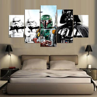5 Panel Star Wars Darth Vader & Boba Fett Modern Decor Canvas Wall Art HD Print