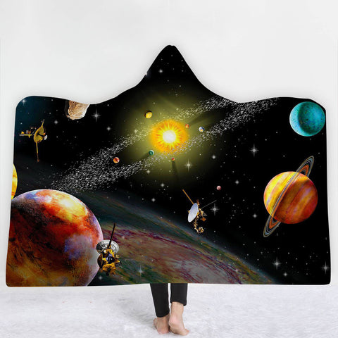 Universe & Nature Hooded Throw Blanket Sherpa Fleece Wearable 40 Options Available