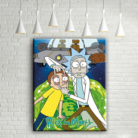 Rick And Morty Cartoon Classic Modern Decor Canvas Wall Art HD Print