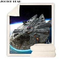 Star Wars Millennium Falcon 3D Blanket Plush Sherpa Fleece Throw Blanket