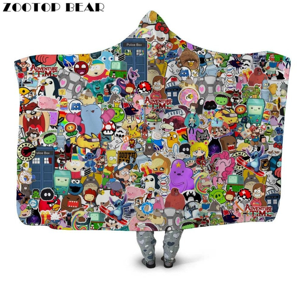 Movie & Game Character Hooded Throw Blanket Sherpa Fleece Wearable 15 Options Available