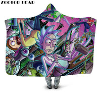 Rick And Morty Hooded Sherpa Fleece Wearable Blanket