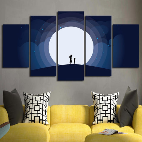 5 Panel Rick And Morty and the moon Modern Decor Canvas Wall Art HD Print