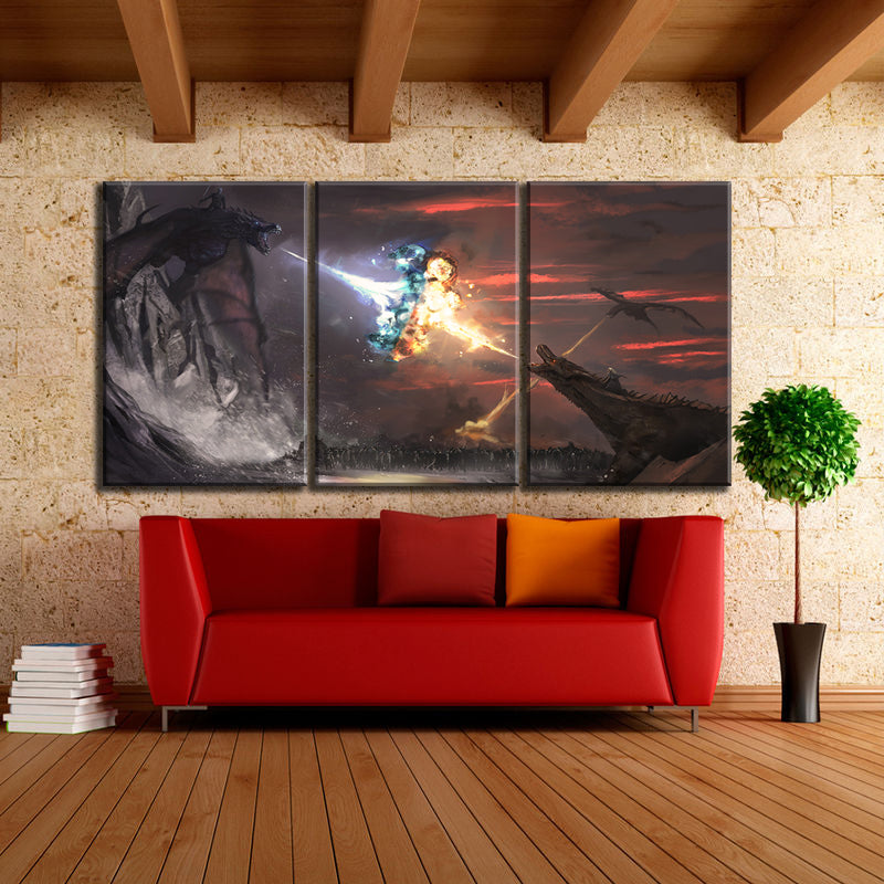 3 Panel Game of Thrones Fire & Ice Dragons Modern Décor Wall Art Canvas HD Print