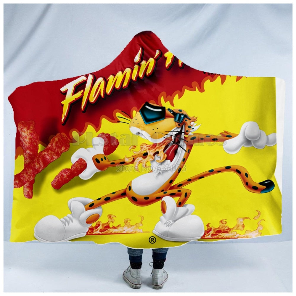 Hot Cheetos & Food Snacks Hooded Throw Blanket Sherpa Fleece Wearable 5 Options Available
