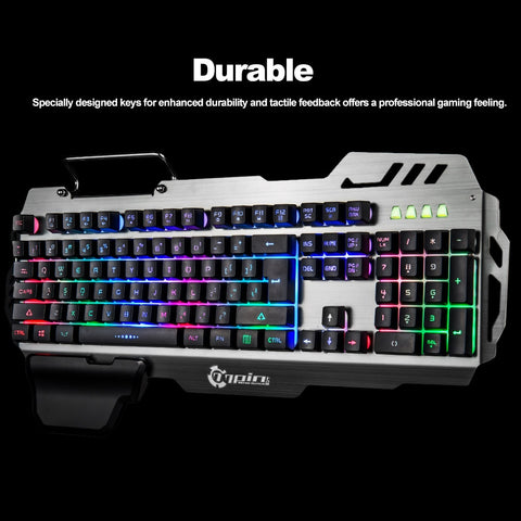 Gaming Keyboard RGB Backlight Computer with Mobile Phone Holder Wrist Rest for LOL Gamer DOTA 2 Computer