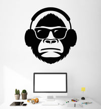 Cool Monkey in Headphones & Sunnies Vinyl Wall Art Various Colours & Size Options Available
