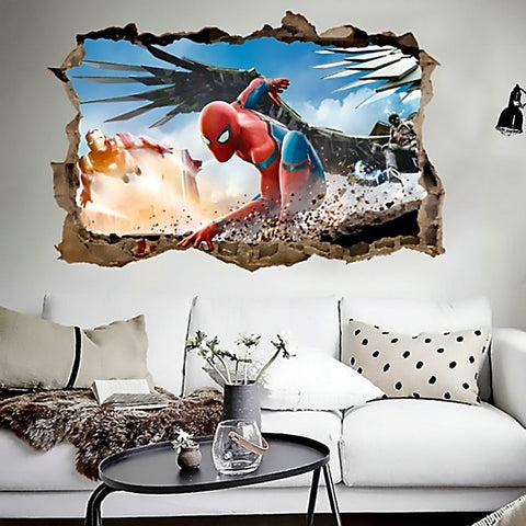 Spiderman & Iron Man 3D Vinyl Mural Wall Art Two Sizes Available