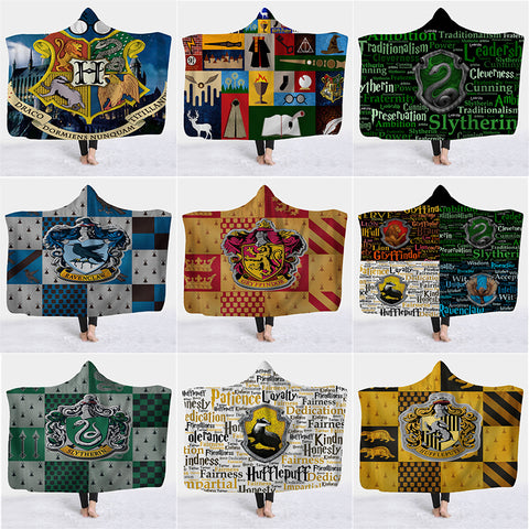 21 Choices Various Harry Potter Hooded Blanket Sherpa Fleece Wearable Throw