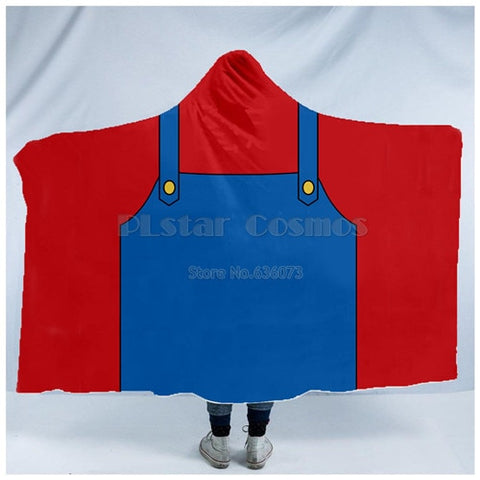 Super Mario Game Character Hooded Throw Blanket Sherpa Fleece Wearable