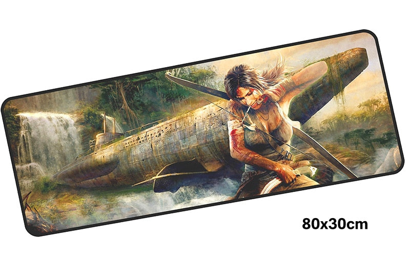 Tomb Raider Lara & Submarine Large Mouse Pad 800x300mm Best PC Pad HD Print