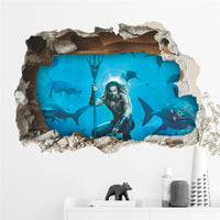 3D Aquaman Aquarium View Vinyl Mural Wall Art