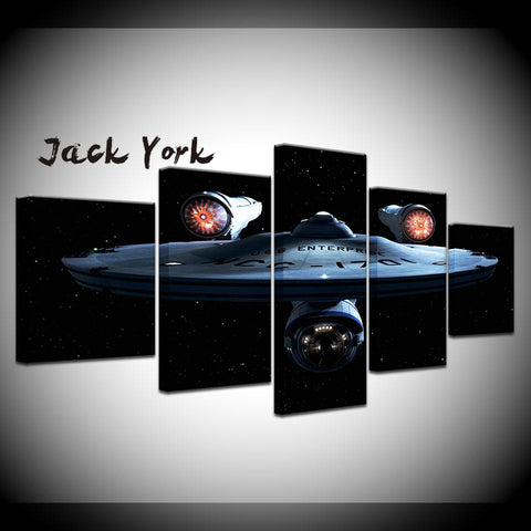 5 Panel Framed Star Trek Enterprise Modern Décor Wall Art Canvas HD Print