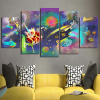 5 Panel Rick And Morty Abstract Modern Decor Canvas Wall Art HD Print
