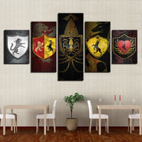 5 Panel Game of Thrones House Shields Modern Décor Wall Art Canvas HD Print