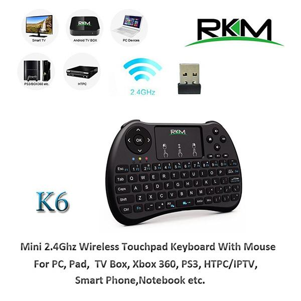 RKM K6 Keyboard 2.4G wireless Multi-Media remote control for PC, Android TV BOX, Smart TV,Game