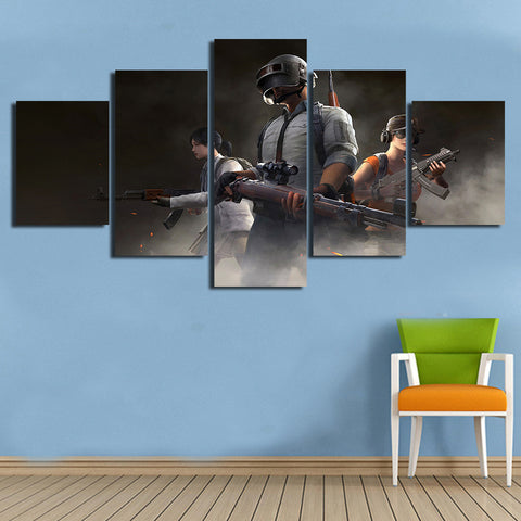 5 Panel PUBG Co-Op Team Modern Décor Wall Art Canvas HD Print