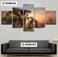 5 Panel Game of Thrones Mother of Dragons Modern Décor Wall Art Canvas HD Print