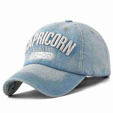 Denim Baseball Cap | Capricorn Washed-Caps-SHED71-SHED71