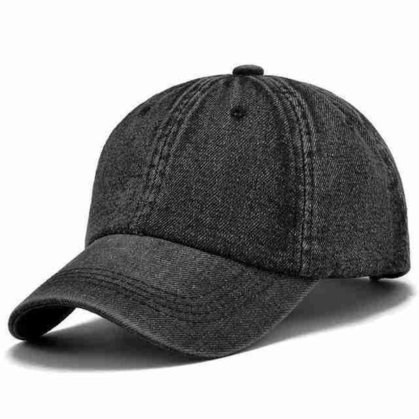 Denim Baseball Cap | Plain Black-Caps-SHED71-SHED71