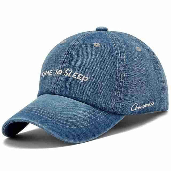 "Denim Baseball Cap | ""Time To Sleep"" Blue-Caps-SHED71-SHED71"