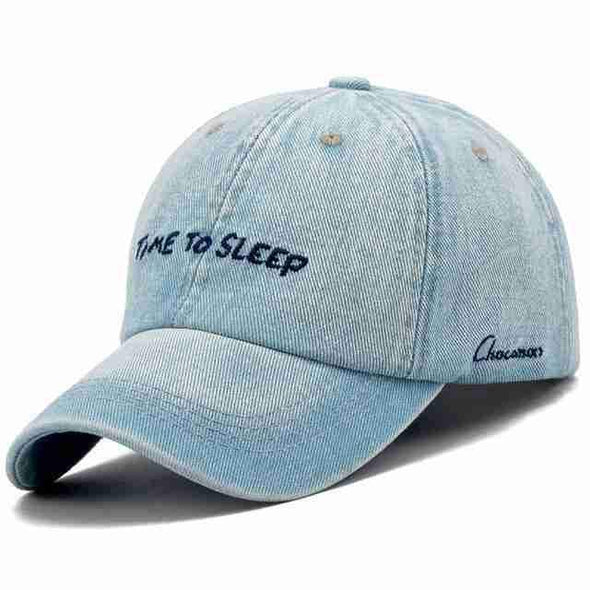 "Denim Baseball Cap | ""Time To Sleep"" Washed-Caps-SHED71-SHED71"