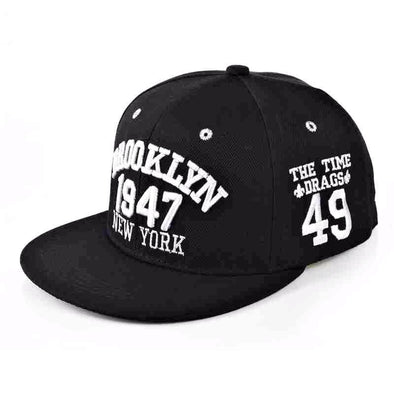Fashion 1947 Brooklyn Hip Hop Cap | Black Black-Caps-SHED71-SHED71