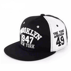 Fashion 1947 Brooklyn Hip Hop Cap | Black & White-Caps-SHED71-SHED71