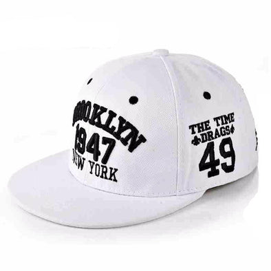 Fashion 1947 Brooklyn Hip Hop Cap | White-Caps-SHED71-SHED71
