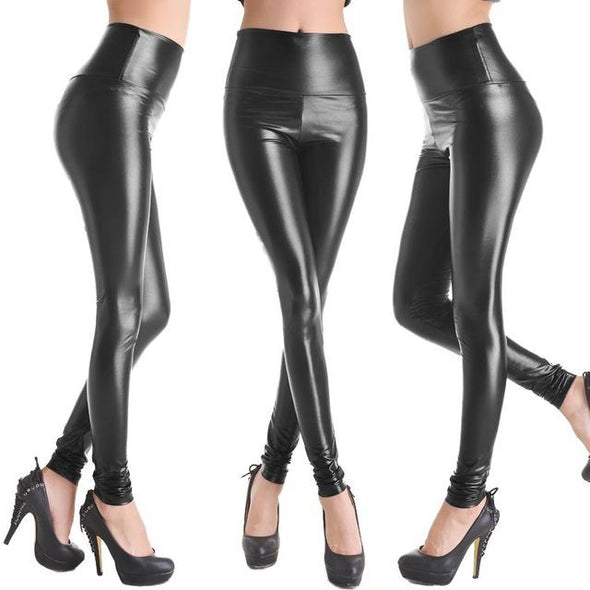 Fashion Faux Leather High Waist Leggings | Lake Blue-Leggings-SHED71-NO1 Bright Black-L-SHED71