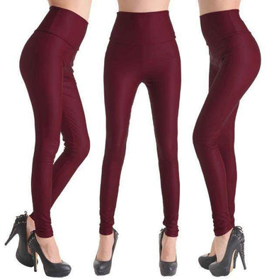Fashion Faux Leather High Waist Leggings | Wine Red-Leggings-SHED71-NO11 Wine Red-L-SHED71